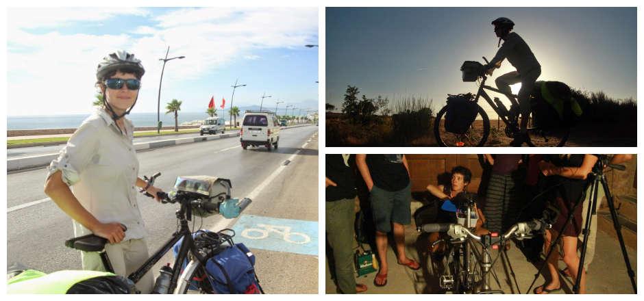 Le vélo féminin roule pour le grand écran
