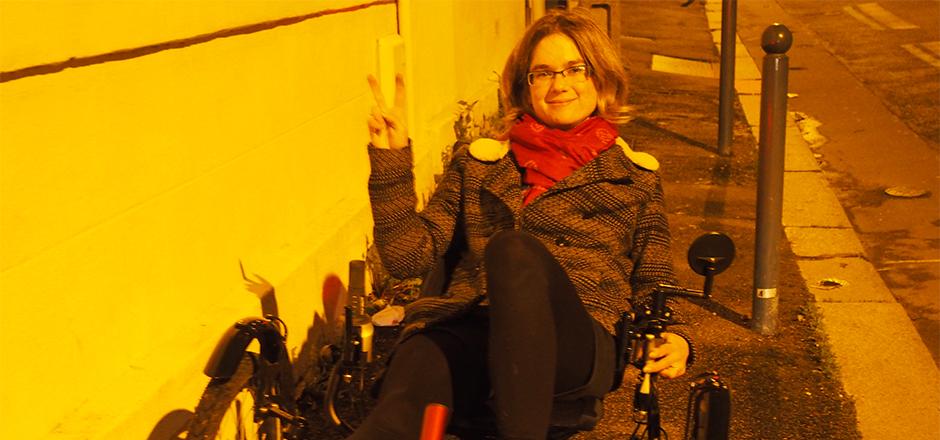 Elise et son trike, en route pour le Sun Trip!