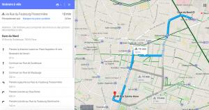 google map itinéraire velo paris