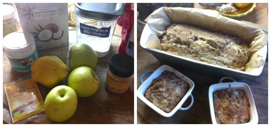 Les pommes sont à l'honneur en cette saison! C'est le moment idéal pour les savourer en gâteau coco, pommes et coing, sans gluten s'il-vous-plaît!