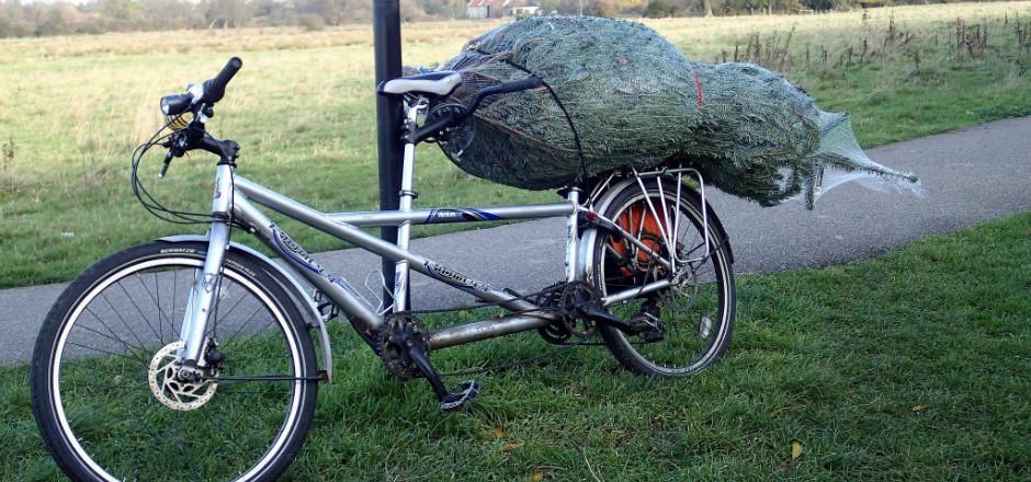 Transporter son arbre de Noël à vélo, et pourquoi pas? Pour vous inspirer, voici quelques exemples de cette idée un peu insolite mais bien utile!