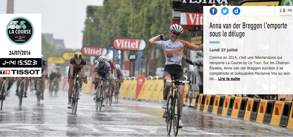 La Course by le Tour revient pour la 3ème édition en 2016! Soyez au rendez-vous le 24/07/2016 pour applaudir les participantes au Tour de France Féminin.