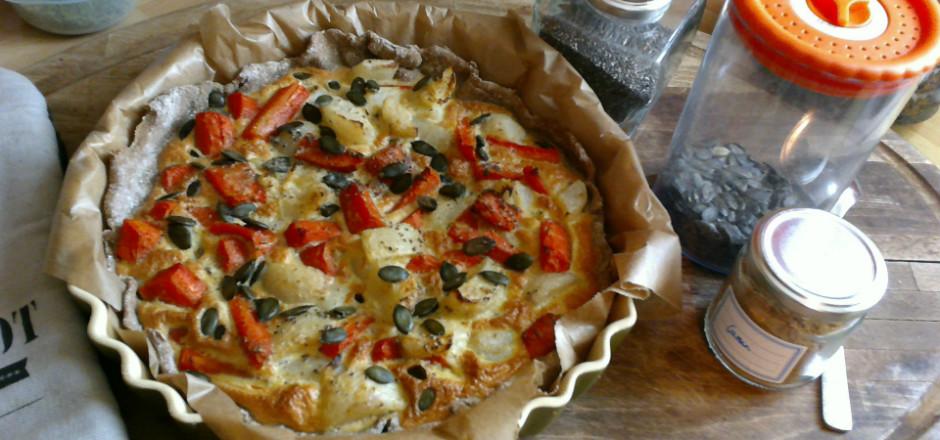 Des carottes et des navets dans votre tarte au sarrasin? Accompagnés de graines de courges et de Chia, ça donne une tarte on ne peut plus délicieuse!