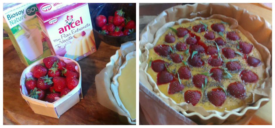 Une tarte blés anciens aux fraises et basilic qui repose sur une base de flan vanillé, vous allez fondre! Une recette express et sans gluten!