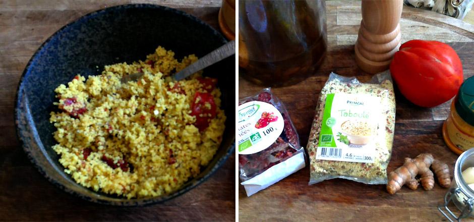 Taboulé vegan au curcuma, poivre noir, tomates séchées