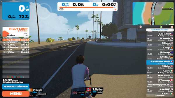 Rouler en groupe Zwift