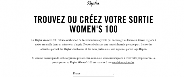 Rapha women's 100 site web