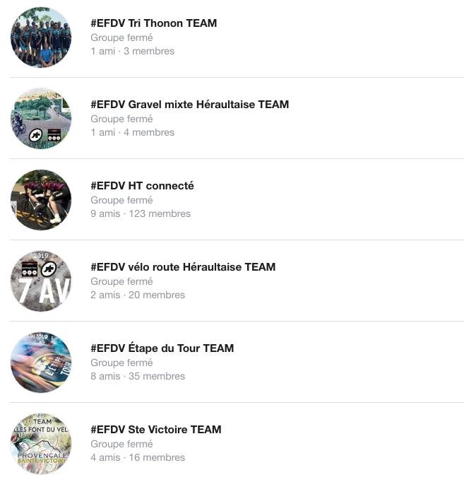 les groupes Facebook des TEAM @ellesfontduvelo