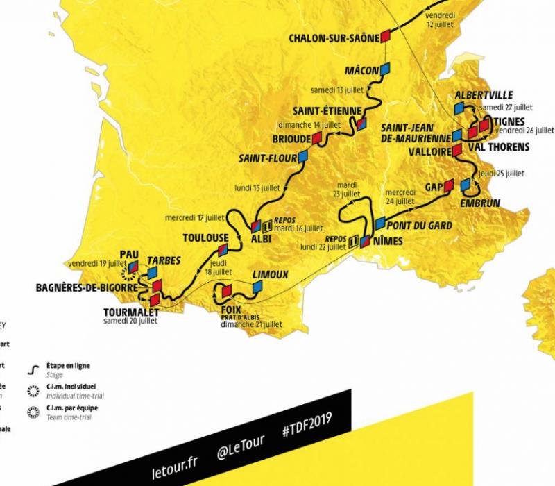 les routes du Tour TDF 2019