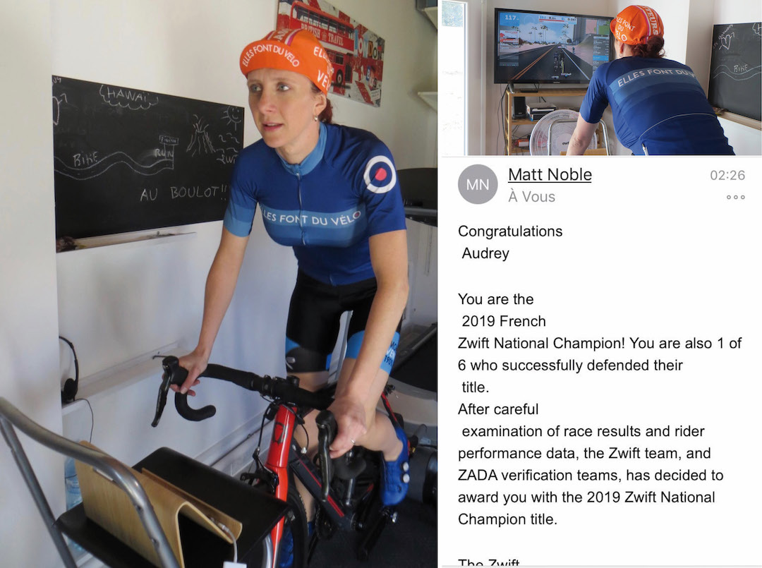 team #EFDV Audrey Landier, Championne de France Zwift