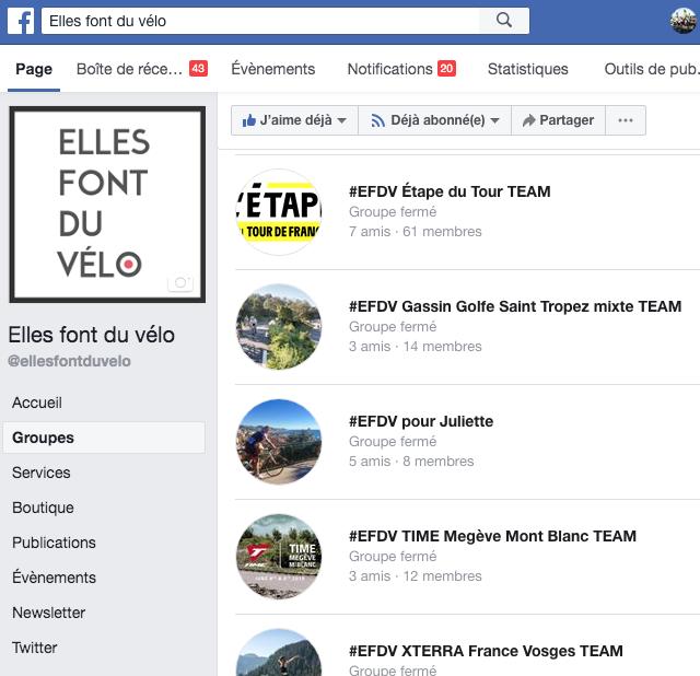 groupes facebook des TEAM @ellesfontduvelo