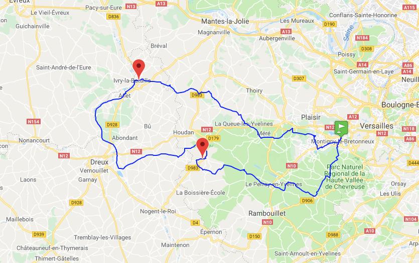 le parcours de la Monticyclo 150km
