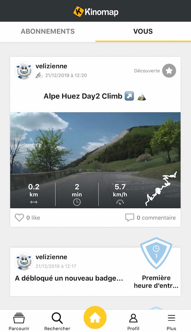 video Kinomap application française pour sports connectés d'intérieur