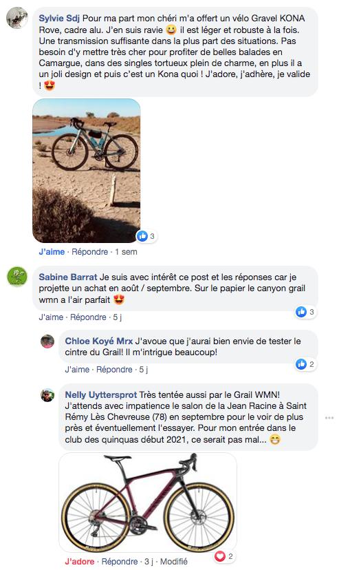 Facebook vélo gravel idéal femme seconde partie