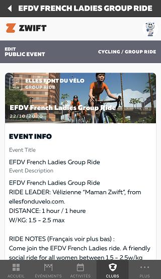 club zwift EFDV elles font du vélo