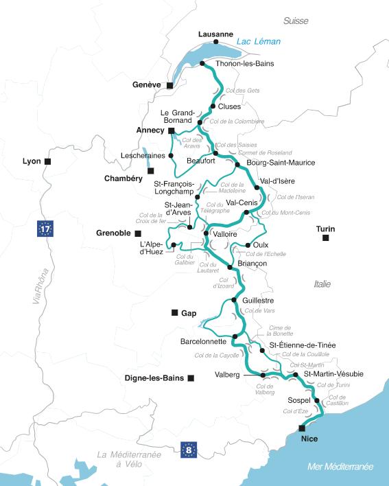 Routes des grandes alpes à vélo